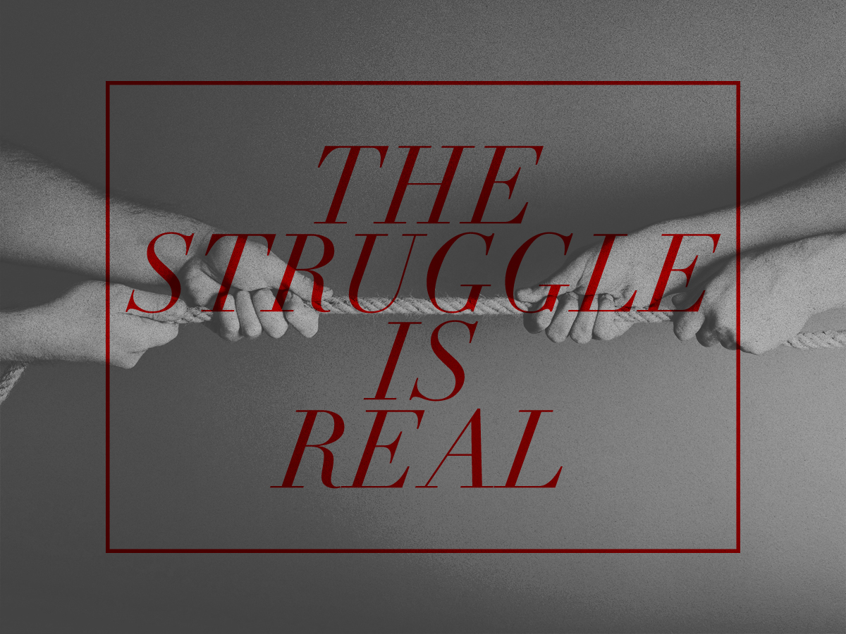 the struggle The struggle is real an expression used to emphasize the gravity of a frustrating circumstance or hardship, which is often used ironically online in a similar manner to first world problems.